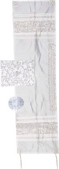 Tallit For women Traditional Jewish Prayer Shawl Embroidered WitH Pomegranates ,100% Kosher from Israel include bag & kippah