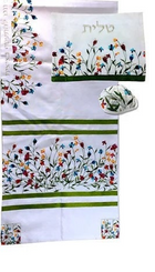 Tallit For women Traditional Jewish Prayer Shawl Embroidered WitH flowers ,100% Kosher from Israel include bag & kippah.