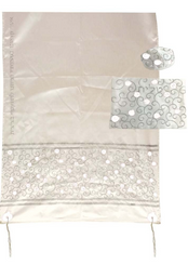 White Tallit For women Traditional Jewish Prayer Shawl Embroidered With Pomegranates ,100% Kosher from Israel include bag & kippah.