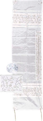 Tallit white For women Traditional Jewish Prayer Shawl Embroidered With Pomegranates ,100% Kosher from Israel include bag & kippah.