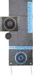 Tallit For women Traditional Jewish Prayer Shawl Embroidered WitH Pomegranates Kosher from Israel include bag & kippah.