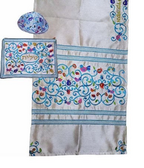 Tallit For women Traditional Jewish Prayer Shawl Embroidered WitH Pomegranates 100% Kosher from Israel include bag  kippah
