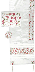 Tallit women Traditional Jewish Prayer Shawl Embroidered With Pomegranates 100% Kosher from Israel include bag  kippah
