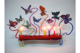 Butterflies Hanukkah Menorah (Double Sided) By David Gerstein
