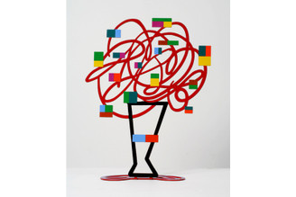 Vase with Abstract Bouquet (Red) Sculpture By David Gerstein