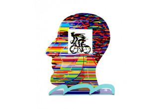 Head With Cyclist Head Sculpture By David Gerstein