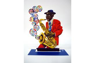 Saxophonist - jazz Saxophonist Sculpture By David Gerstein