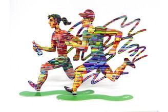 Joggers - jogman + jogwoman Sculpture By David Gerstein