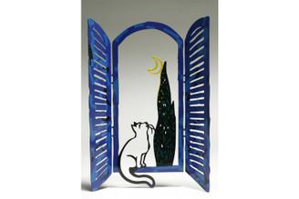 The Cat & The Moon Window Sculpture By David Gerstein