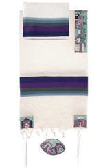 Jerusalem Blue Hand Embroidered Tallit By Yair Emanuel