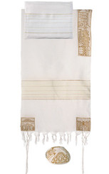 Jerusalem Gold Hand Embroidered Tallit By Yair Emanuel