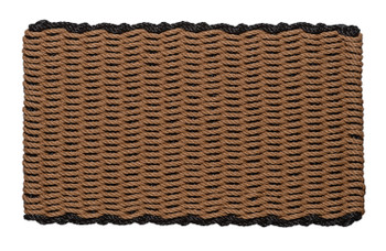 Border door mat - beige with black border
