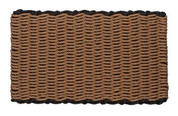 Border door mat - beige with black border