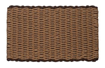 Border door mat - beige with brown border
