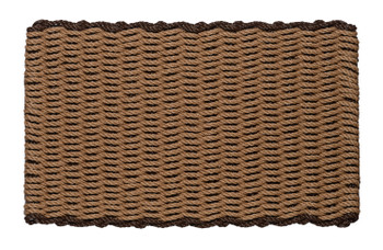 Border door mat - beige with brown border