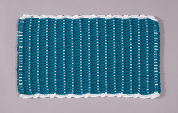 Border door mat - Teal with white border