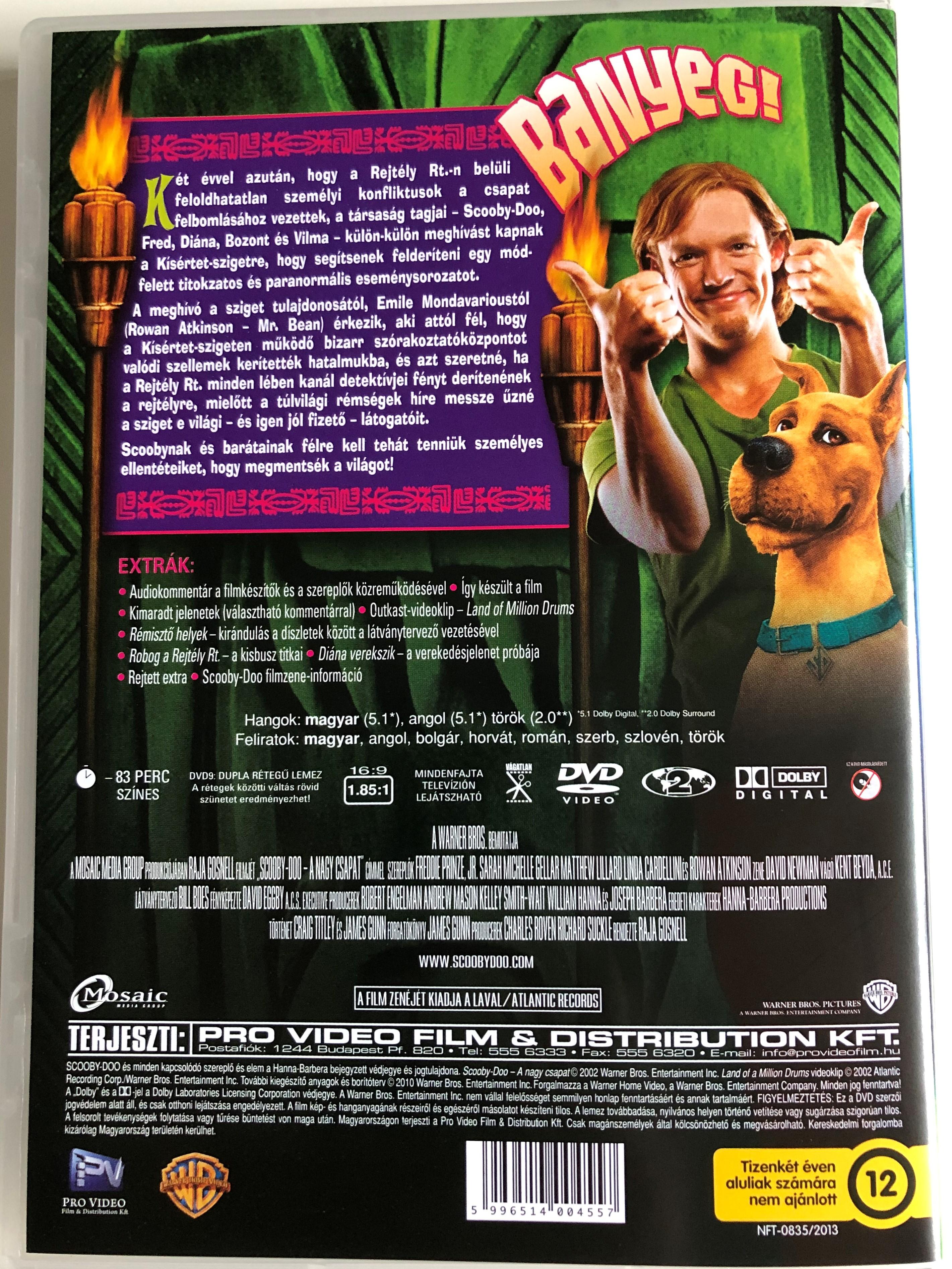 Scooby Doo Dvd 2002 Scooby Doo A Nagy Csapat Directed By Raja Gosnell Starring Freddie Prinze Jr Sarah Michelle Gellar Matthew Lillard Linda Cardellini Rowan Atkinson Bibleinmylanguage