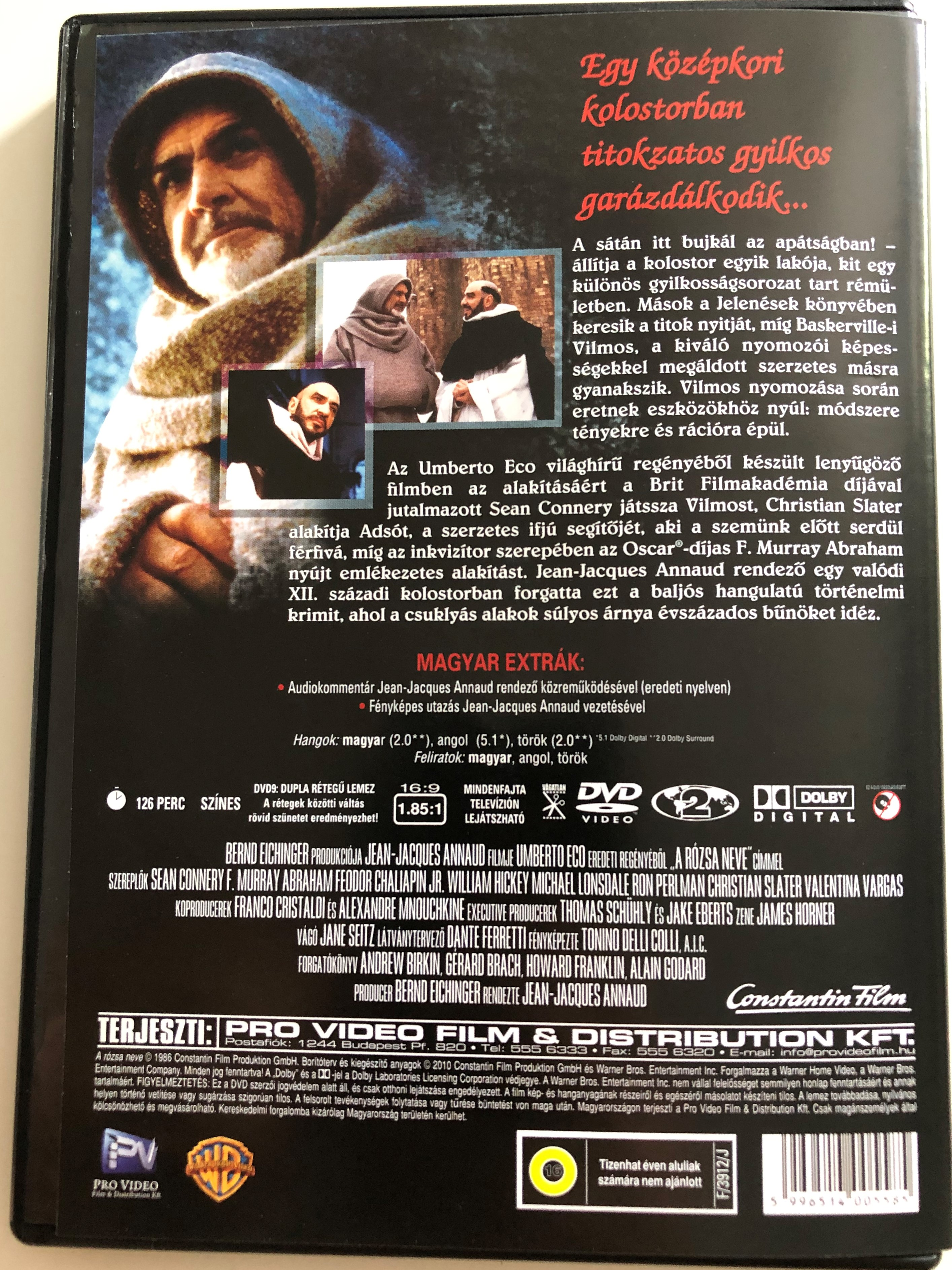 The name of the Rose DVD 1986 A rózsa neve / Directed by Jean-Jacques  Annaud / Starring: Sean Connery, F  Murray Abraham, Feodor Chaliapin Jr  /  Based