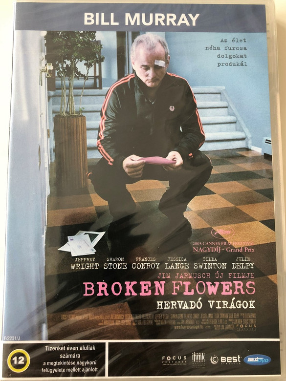 Broken Flowers DVD 2005 Hervadó Virágok / Directed by Jim Jarmush / Starring: Bill Murray, Jeffrey Wright, Sharon Stone, Frances Conroy, Jessica Lange, Tilda Swinton, Julie Delpy, Mark Webber, Chloë Sevigny (5998133170637)