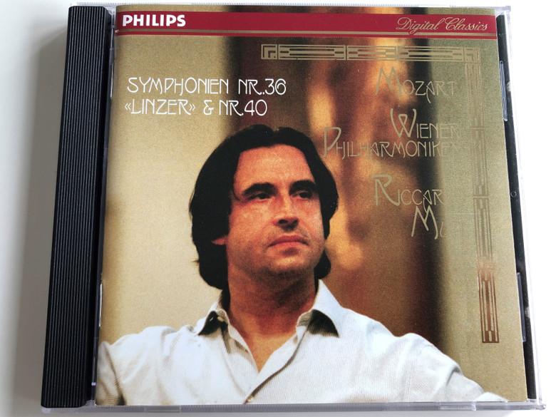 "W.A. Mozart - Symphonien Nr. 36 ""Linzer"" & Nr. 40 / Wiener Philharmoniker / Conducted by Riccardo Muti / Audio CD 1993 / Philips Digital Classics (028943410724)"