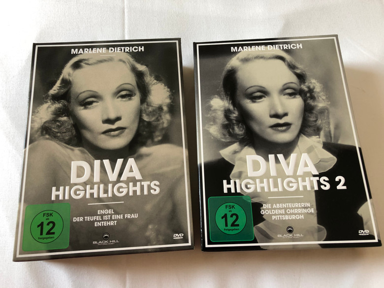 Marlene Dietrich - Diva Highlights 1 & 2 / Complete DVD Set / 6 Highlights - Black&White Classics with Marlene Dietrich the Film Diva / Angel, The Devil is a Woman, Dishonored, The Flame of New Orleans, Golden Earring, Pittsburgh / Digital Remastered / 6 discs  4020628943240 4020628950651