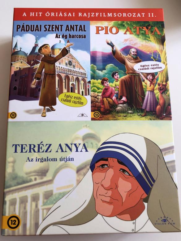 Páduai Szent Antal - Pio Atya - Teréz Anya DVD / A Hit Óriásai Rajzfilmsorozat II / 3 disc DVD BOX / Three Family Cartoons synchronised to Hungarian language (5999886089856)