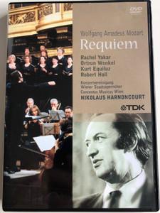 Wolfgang Amadeus Mozart - Requiem DVD 2006 / Rachel Yakar soprano, Ortrun Wenkel contralto, Kurt Equiluz tenor, Robert Holl, bass / Vienna State Opera Choir / Concentus Musicus Wien - Nikolaus Harnocourt / Live Recording from 1981 - Directed by Franz Kabelka / TDK-music (824121001957)