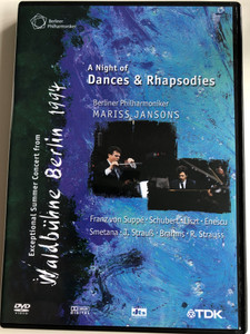 A Night of Dances & Rhapsodies DVD / Berliner Philharmoniker / Conducted by Mariss Jansons / Franz von Suppé, Schubert, Liszt, Enescu, Smetana, J. Strauß, Brahms, R. Strauss / Exceptional Concert from Waldbühne Berlin 1994 / TDK-music (5450270006212)