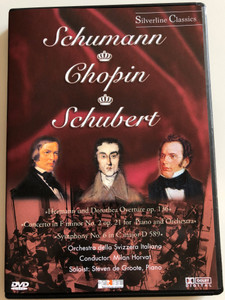 Schumann - Chopin - Schubert DVD 1983 / Hermann und Dorothea Overture op. 136 - Concerto in F minor No. 2 op. 21 Piano and Orchestra / Orchestra della Svizzera Italiana / Conducted by Milan Horvat / Soloist Steven de Groote, piano / Silverline Classics (4028462800064)