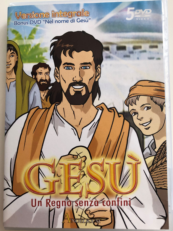 "Gesú - Un regno senza confini (1998) 5 DVD SET Jesus - A kingdom without borders / Directed by: Jung Soo Yong / Italian Cartoon Series / Full version - Versione integrale / Bonus DVD ""Nel nome di Gesú"" - In the name of Jesus (8015948305478)"