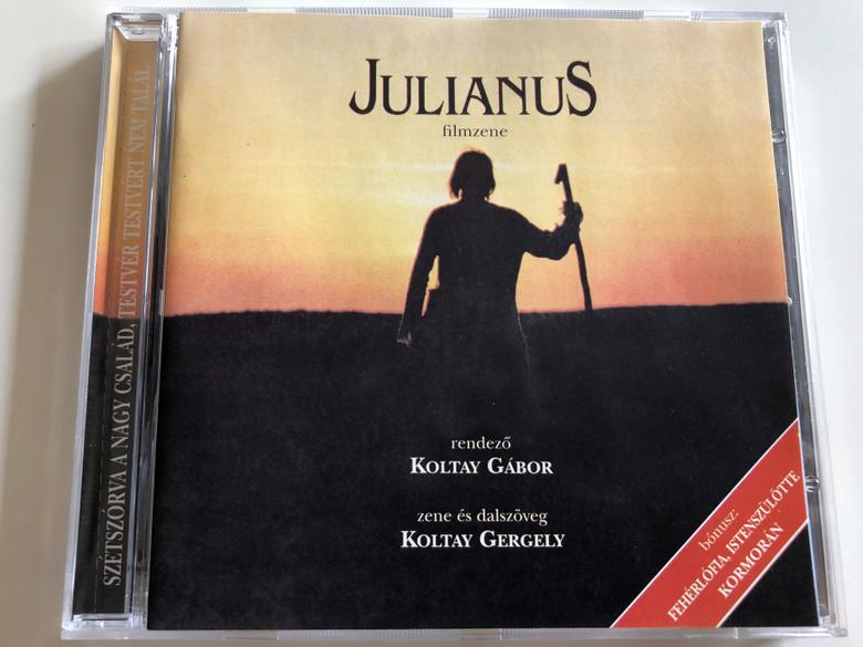 Julianus filmzene / OST / Directed by Koltay Gábor / Music and text by Koltay Gergely / Szétszórva a nagy család, testvér testvért nem talál / Bonus: Fehérlófia, Istenszülötte, Kormorán / Hungaroton (5991811421724)