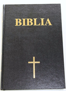 Romanian Bible Large Black Hardcover with Gold Cross / Biblia sau Sfanta Scri...