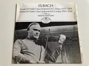J. S. Bach - Sonata For Violin Unaccompanied In C Major, BWV 1005 / Partita For Violin Unaccompanied In E Major, BWV 1006 / Yehudi Menuhin / HUNGAROTON LP STEREO - MONO / SHLX 90045