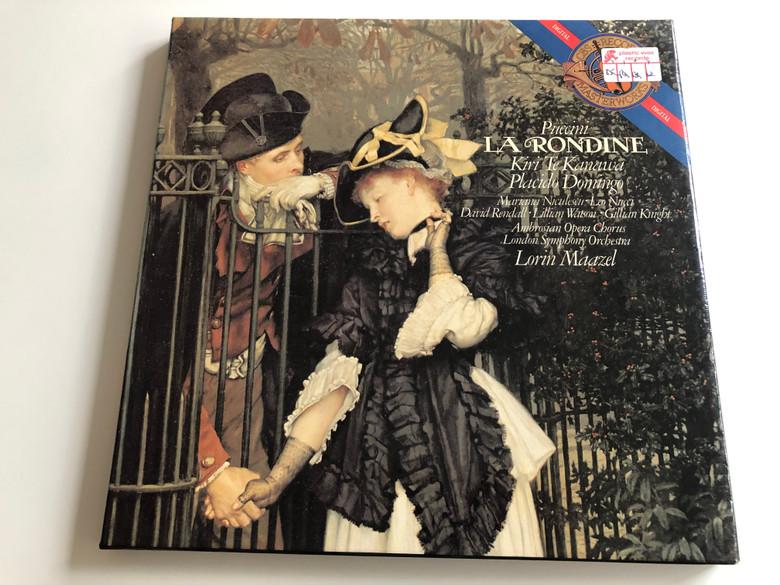 Puccini La Rondine / Kiri Te Kanawa, Placido Domingo, Lorin Maazel / Ambrosian Opera Chorus / London Symphony Orchestra / CBS MASTERWORKS 2X LP DIGITAL STEREO / D2 37852, US & CAN I2M 37852