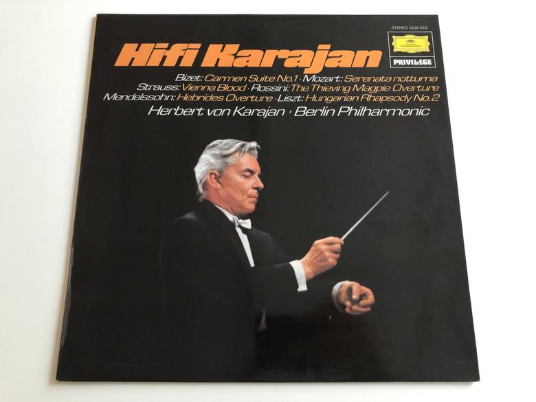 Hifi Karajan - Berlin Philharmonic / Conducted: Herbert von Karajan / Bizet, Mozart, Strauss, Rossini, Mendelssohn, Liszt / Deutsche Grammophon LP STEREO / 2535 253