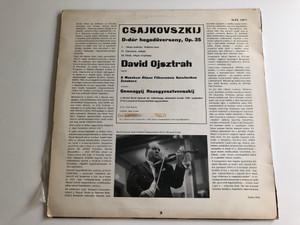 Csajkovszkij - D-dúr Hegedűverseny, Op. 35 / Conducted: Gennagyij Rozsgyesztvenszkij / David Ojsztrah / A Moszkvai Állami Filharmónia Szimfonikus Zenekara / HUNGAROTON LP STEREO - MONO / SLPX 12075