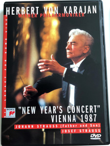 Herbert Von Karajan - New Year's Eve Concert DVD 1987 / Wiener Philharmoniker / Directed by Gunter Hermanns / Johann Strauss (Father and Son), Josef Strauss / SVD 45985 (5099704598598)