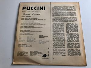 Puccini - Manon Lescaut - Részletek - Excerpts / Házy E., Ilosfalvy R., Melis Gy. / Conducted: Erdélyi M. / QUALITON LP STEREO / LPX 1254