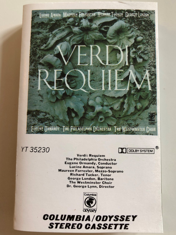 Verdi – Requiem / The Philadelphia Orchestra / Conducted: Eugene Ormandy, The Westminster Choir / Odyssey CASSETTE STEREO / YT 35230