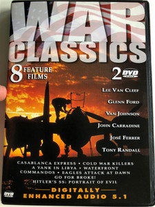 War Classics DVD 2003 / 8 Feature films / Casablanca Express, Cold War Killers, A yank in Libya, Waterfront, Commandos, Eagles Attack at dawn, Go for Broke! Hitler's SS: Portrait of Evil / 2 DVD (096009252298)