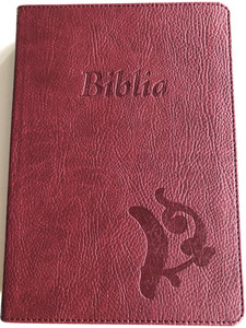 Hungarian Károli Reloaded Bible PU Imitation Leather Cover Dark Red / Magyar Biblia revideált Károli középméretű, bordó, műbőr / Words of God and Words of Jesus in RED (5999883910566)