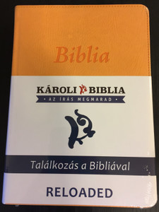 Hungarian Karoli Reloaded Bible PU Imitation Leather Cover Yellow / Magyar Biblia revideált Károli középméretű, sárga, műbőr / Words of God and Words of Jesus in RED (5999883910573)