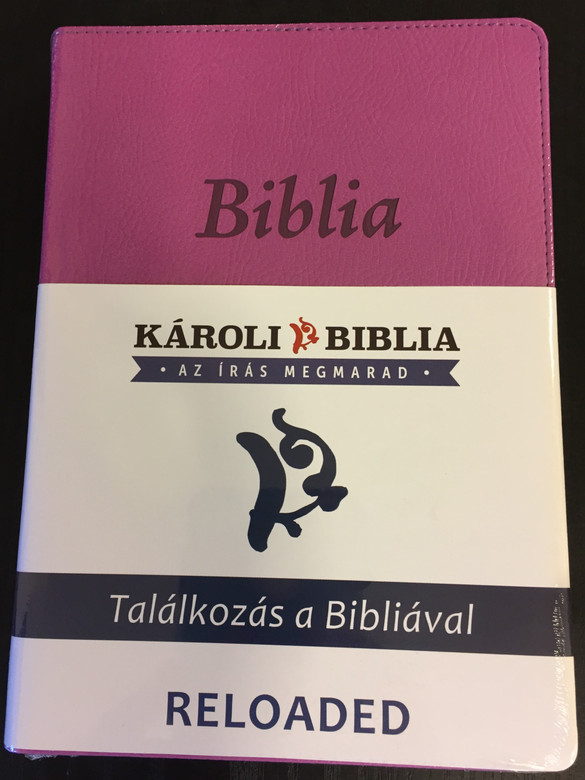 Hungarian Bible Karoli Reloaded PU Imitation Leather Cover Purple / Magyar Biblia revideált Károli középméretű, lila, műbőr / Words of God and Words of Jesus in RED (5999883910535)