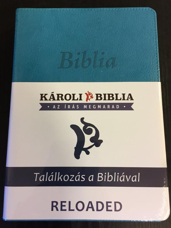 Hungarian Károli Bible - Reloaded PU Imitation Leather Cover Turqoise / Magyar Biblia revideált Károli középméretű, türkiz, műbőr / Words of God and Words of Jesus in RED (5999883910504)
