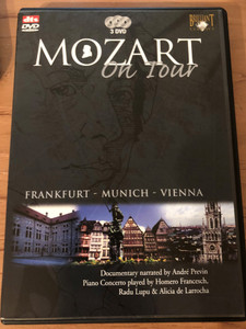Mozart On Tour DVD / Frankfurt, Munich, Vienna / Documentary narrated by André Previn / Piano Concerto played by Homero Francesch, Radu Lupu & Alicia de Larrocha / 3 DVD (5028421928210)