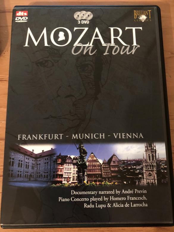 Mozart On Tour DVD / Frankfurt, Munich, Vienna / Documentary narrated by André Previn / Piano Concerto played by Homero Francesch, Radu Lupu & Alicia de Larrocha / 3 DVD (5028421928210)