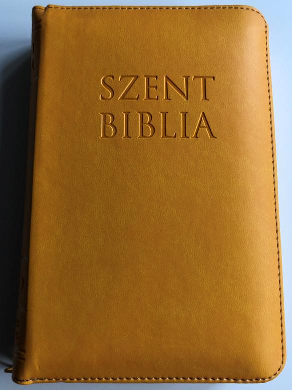 Holy Bible - Szent Biblia / Károli Gáspár / Small size Sun Yellow Imitation Leather with zipper / Napsárga / Golden Edges / Words of Christ in Red / Maps & Timeline / Jézus szavai piros kiemeléssel / Térképek és idővonal (PatmosBibleYellowSmall)