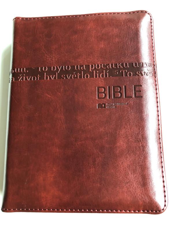 Leather Bound Bible in Czech language - Ecumenical translation / Brown with zipper & thumb index / Pismo Svaté Starého a Nového Zakona / Český Ekumenický překlad / Česká biblicka společnost 2015 (9788075450036)