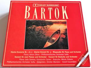 Bartok - Klavier Konzerte Nr. 1 & 2, Klavier-Konzert Nr. 3, Rhapsodie fur Piano und Orchester / Konzert fur zwei Pianos und Orchester, Konzert fur Bratsche und Orchester, Dirigent: Manolov / MCP Box Set 3x Audio CD Stereo / 312.768