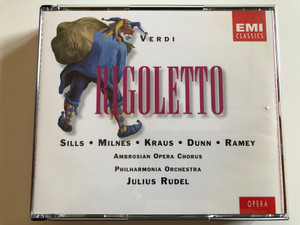 Verdi – Rigoletto / Sills, Milnes, Kraus, Dunn, Ramey / Ambrosian Opera Chorus, Philharmonia Orchestra, Julius Rudell / EMI Classics 2x Audio CD 1996 Stereo / 724356603721